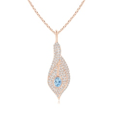 Aquamarine Calla Lily Pendant Necklace with Diamond Accents