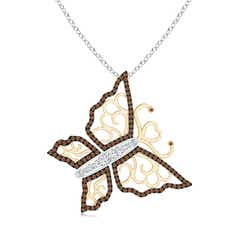 White and Coffee Diamond Tilted Butterfly Pendant in Two Tone