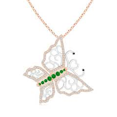 Emerald and Diamond Tilted Butterfly Pendant in Two Tone