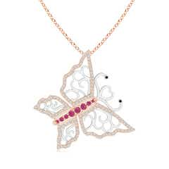 Pink Sapphire and Diamond Butterfly Pendant in Two Tone