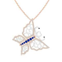 Blue Sapphire and Diamond Butterfly Pendant in Two Tone