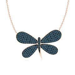 Pave-Set Blue Diamond Dragonfly Necklace