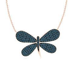 Pave Set Blue Diamond Dragonfly Necklace