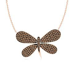 Pave-Set Coffee Diamond Dragonfly Necklace