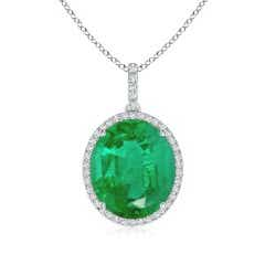 GIA Certified Emerald Cocktail Pendant with Diamond Halo
