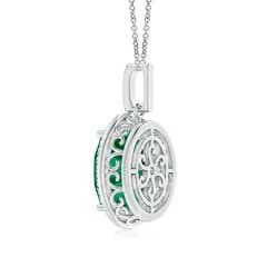 Toggle GIA Certified Emerald Cocktail Pendant with Diamond Halo