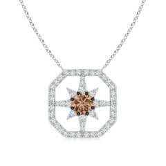 Coffee Diamond Starburst Pendant with Octagonal Frame