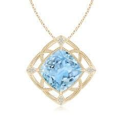 Claw-Set Aquamarine Fleur De Lis Pendant