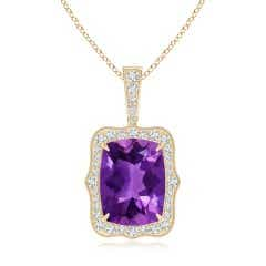 Rectangular Cushion Amethyst Cocktail Pendant with Milgrain