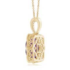 Toggle Rectangular Cushion Amethyst Cocktail Pendant with Milgrain