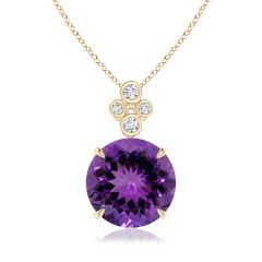 Claw-Set GIA Certified Amethyst Pendant with Bezel Diamonds