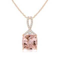 Cushion Morganite Solitaire Pendant with Diamond Ribbon Bale
