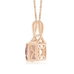 Toggle Cushion Morganite Solitaire Pendant with Diamond Ribbon Bale