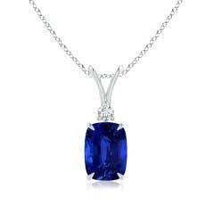 GIA Certified Cushion Blue Sapphire V-Bale Pendant