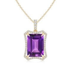 Floating Emerald-Cut Amethyst Dangle Pendant with Diamonds