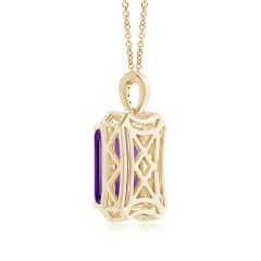 Toggle Floating Emerald-Cut Amethyst Dangle Pendant with Diamonds