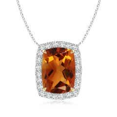 Rectangular Cushion Citrine Halo Pendant in Two Tone