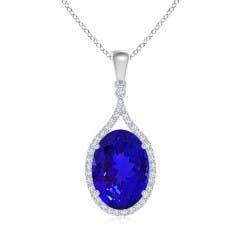 Oval Tanzanite Halo Drop Pendant with Diamonds
