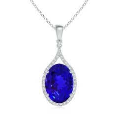 Oval Tanzanite and Diamond Halo Loop Pendant