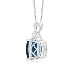 Toggle GIA Certified London Blue Topaz Pendant with Diamond