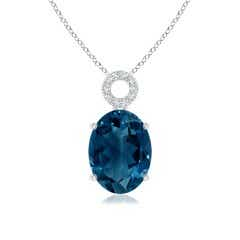 Oval London Blue Topaz Solitaire Pendant with Circular Bale