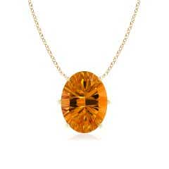 GIA Certified Oval Citrine Solitaire Pendant