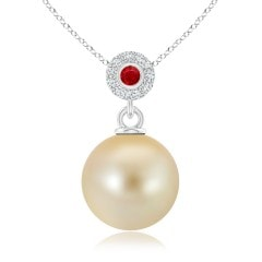 Golden South Sea Cultured Pearl Halo Pendant with Ruby