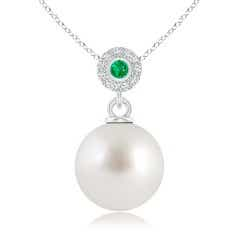 South Sea Cultured Pearl Halo Pendant with Bezel Emerald