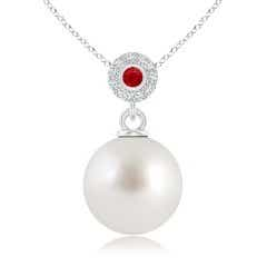 South Sea Cultured Pearl Halo Pendant with Bezel Ruby