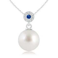 South Sea Cultured Pearl Halo Pendant with Bezel Sapphire