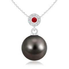 Tahitian Cultured Pearl Halo Pendant with Bezel Ruby