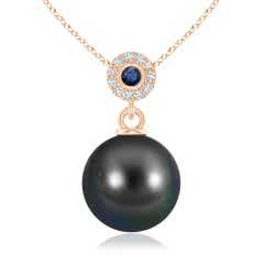 Tahitian Cultured Pearl Halo Pendant with Bezel Sapphire