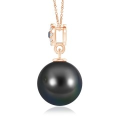 Toggle Tahitian Cultured Pearl Halo Pendant with Bezel Sapphire