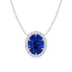 GIA Certified Oval Sri Lankan Sapphire Ellipse Halo Pendant