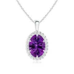 GIA Certified Oval Amethyst Twisted Rope Pendant