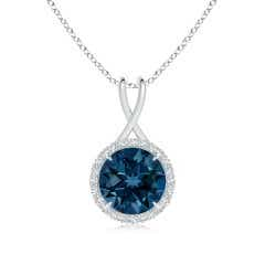 London Blue Topaz and Diamond Halo Pendant with Twisted Bale