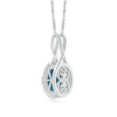 Toggle London Blue Topaz and Diamond Halo Pendant with Twisted Bale