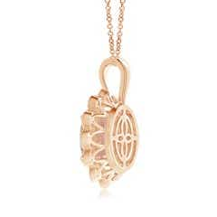 Toggle Oval Morganite and Diamond Twisted Rope Halo Pendant