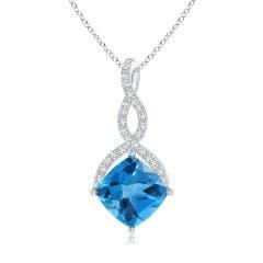 Cushion Swiss Blue Topaz and Diamond Infinity Twist Pendant