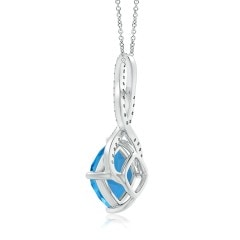 Toggle Cushion Swiss Blue Topaz and Diamond Infinity Twist Pendant