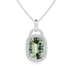 GIA Certified Cushion Green Amethyst Halo Dangle Pendant