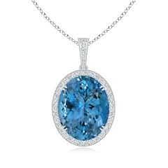 GIA Certified Oval Aquamarine Halo Pendant with Diamond Bale