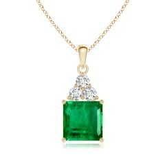 GIA Certified Emerald Solitaire Pendant with Trio Diamonds