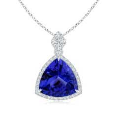GIA Certified Trillion Tanzanite Halo Pendant with Diamonds