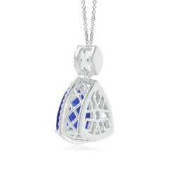 Toggle GIA Certified Trillion Tanzanite Halo Pendant with Diamonds