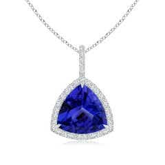 GIA Certified Trillion Tanzanite Halo Dangle Pendant