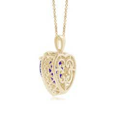 Toggle GIA Certified Heart Tanzanite Dangle Pendant with Diamonds