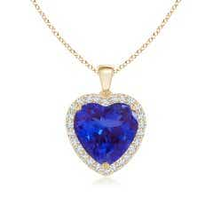 Heart Tanzanite Dangle Pendant with Diamonds