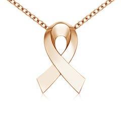 Plain Rose Gold Awareness Ribbon Pendant