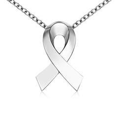 Plain White Gold Awareness Ribbon Pendant